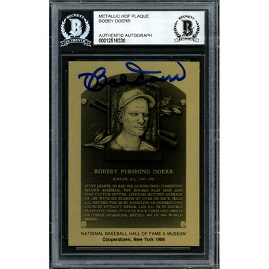 Bobby Doerr Autographed Metallic Hall of Fame Plaque Card (Beckett-30)