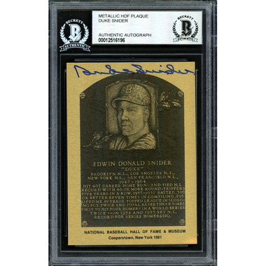 Duke Snider Autographed Metallic Hall of Fame Plaque Card (Beckett-96)