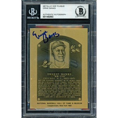 Ernie Banks Autographed Metallic Hall of Fame Plaque Card (Beckett)