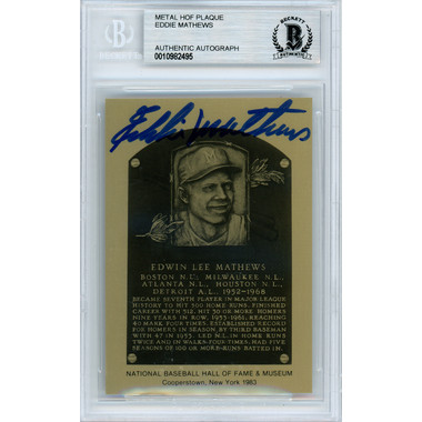 Eddie Mathews Autographed Metallic Hall of Fame Plaque Card (Beckett)