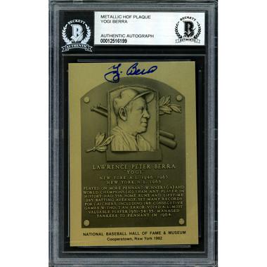 Yogi Berra Autographed Metallic Hall of Fame Plaque Card (Beckett-99)
