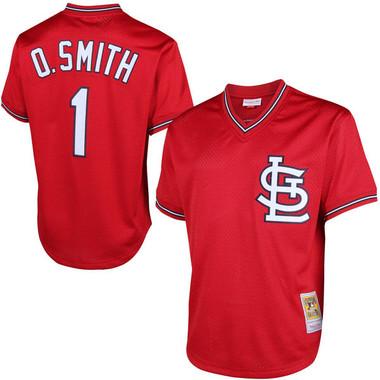 Men's Mitchell & Ness Ozzie Smith 1996 St. Louis Cardinals Batting Practice Cooperstown Jersey