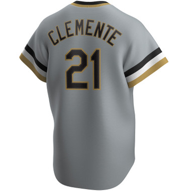 Men's Nike Roberto Clemente Pittsburgh Pirates Cooperstown Collection Gray Jersey