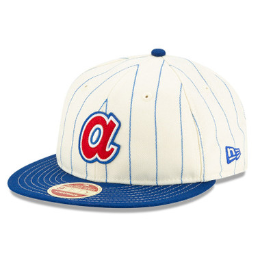 Men's New Era Heritage Series Retro Crown Royal Pinstripe 1972 - 1980 Atlanta Braves 9FIFTY Adjustable Cap