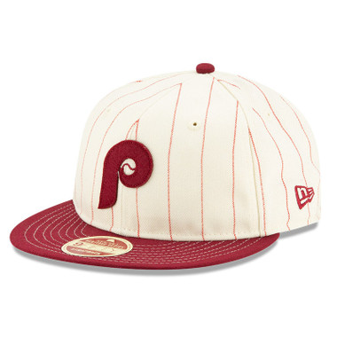 Men's New Era Heritage Series Retro Crown Red Pinstripe 1970 Philadelphia Phillies Pinstripe 9FIFTY Adjustable Cap