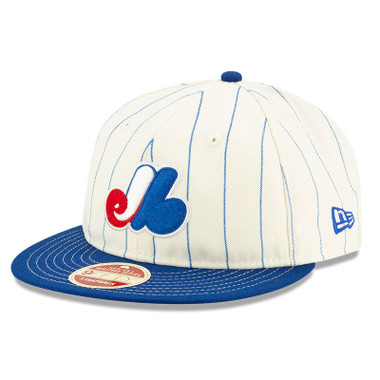 Men's New Era Heritage Series Retro Crown Royal Pinstripe 1969 Montreal Expos 9FIFTY Adjustable Cap