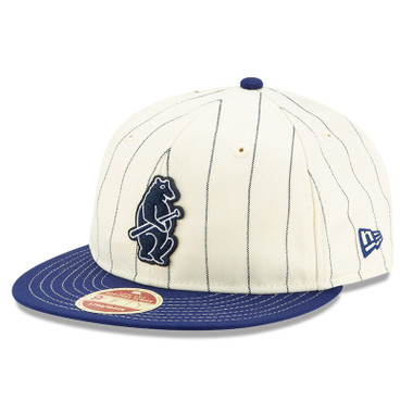 Men's New Era Heritage Series Retro Crown Dark Blue Pinstripe 1914 Chicago Cubs 9FIFTY Adjustable Cap
