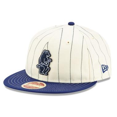 Men's New Era Heritage Series Retro Crown Dark Blue Pinstripe 1914 Chicago Cubs 9FIFTY Adjustable Cap