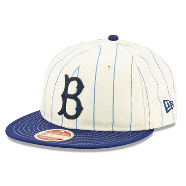 Men's New Era Heritage Series Retro Crown Dark Blue Pinstripe 1949 – 1957 Brooklyn Dodgers 9FIFTY Adjustable Cap