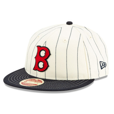 Men's New Era Heritage Series Retro Crown Navy Pinstripe 1946 – 1953 Boston Red Sox 9FIFTY Adjustable Cap