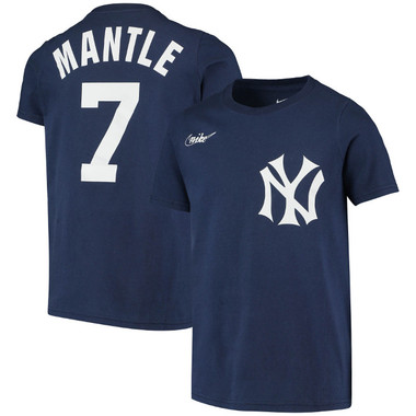 Youth Nike Mickey Mantle New York Yankees Navy Name & Number T-Shirt