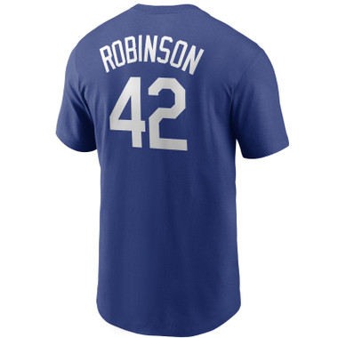 Men's Nike Jackie Robinson Brooklyn Dodgers Cooperstown Collection Name & Number Royal T-Shirt