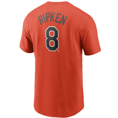 Men's Nike Cal Ripken Jr. Baltimore Orioles Cooperstown Collection Name & Number Orange T-Shirt