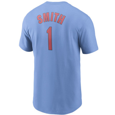 Men's Nike Ozzie Smith St. Louis Cardinals Cooperstown Collection Name & Number Light Blue T-Shirt