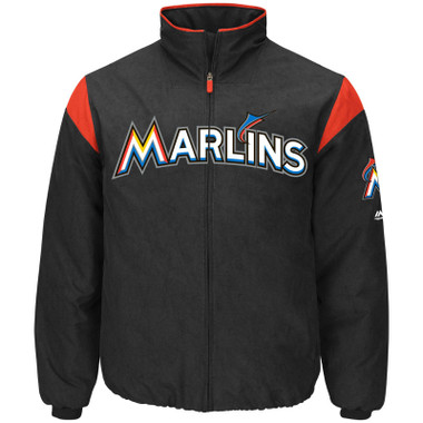 Men's Majestic Miami Marlins Black On Field Premier Jacket