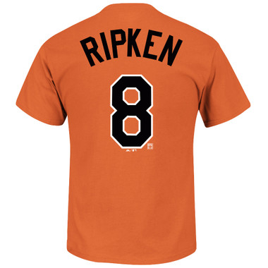 Men's Majestic Cal Ripken Jr. Baltimore Orioles Orange Name & Number T-Shirt