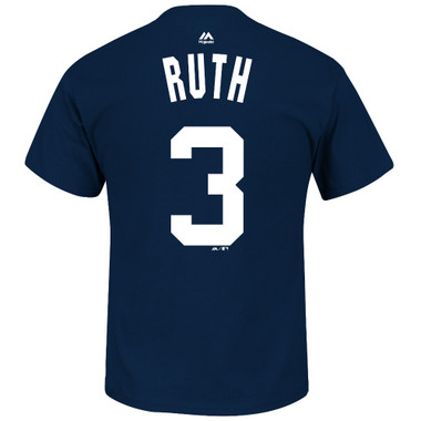 Men's Majestic Babe Ruth New York Yankees Navy Name & Number T-Shirt