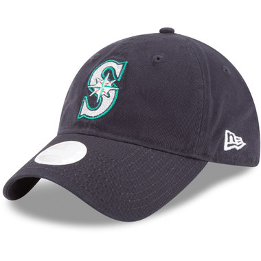 Women's New Era Seattle Mariners Navy Glisten 9TWENTY Adjustable Hat