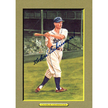 Charlie Gehringer Autographed Perez-Steele Great Moments Jumbo Postcard # 31 (PSA)