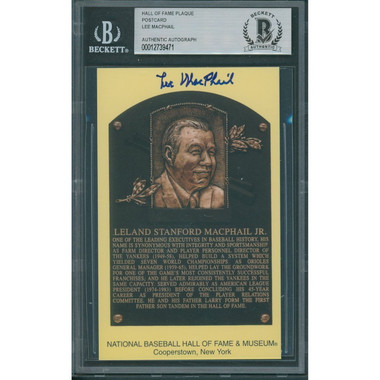 Lee MacPhail Autographed Hall of Fame Plaque Postcard (Beckett-71)