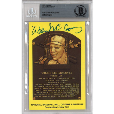Willie McCovey Autographed Hall of Fame Plaque Postcard (Beckett-33)