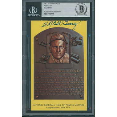 Bill Terry Autographed Hall of Fame Plaque Postcard (Beckett-35)