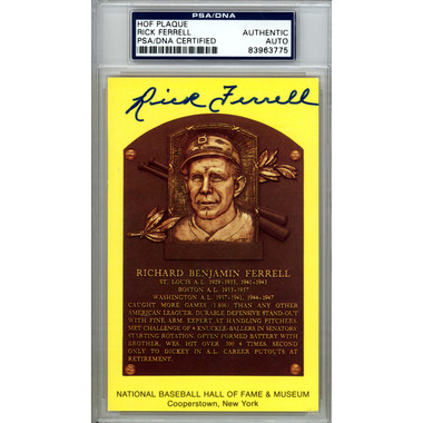 Rick Ferrell Autographed Hall of Fame Plaque Postcard (PSA-75)