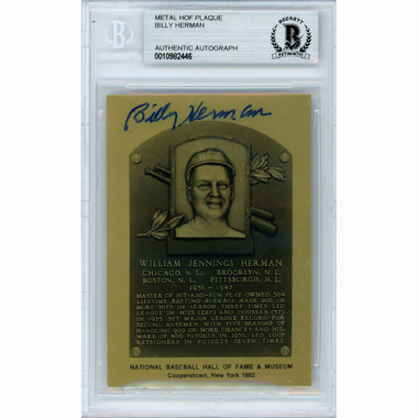 Billy Herman Autographed Metallic Hall of Fame Plaque Card (Beckett-02)