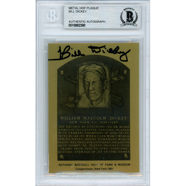 Bill Dickey Autographed Metallic Hall of Fame Plaque Card (Beckett)