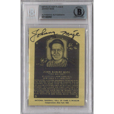 Johnny Mize Autographed Metallic Hall of Fame Plaque Card (Beckett-61)