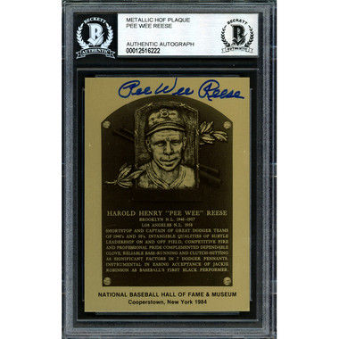 Pee Wee Reese Autographed Metallic Hall of Fame Plaque Card (Beckett-22)
