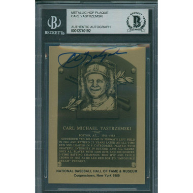 Carl Yastrzemski Autographed Metallic Hall of Fame Plaque Card (Beckett-92)