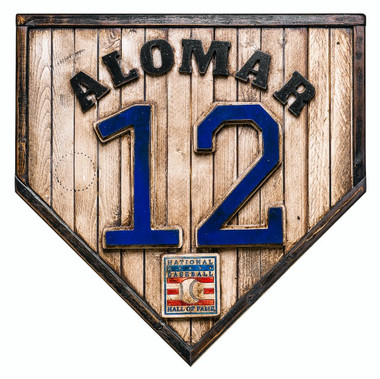 Roberto Alomar Hall of Fame Vintage Distressed Wood 17 Inch Legacy Home Plate Ltd Ed of 250