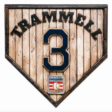 Alan Trammell Hall of Fame Vintage Distressed Wood 17 Inch Legacy Home Plate Ltd Ed of 250