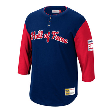Men's Mitchell & Ness Baseball Hall of Fame Franchise Navy and Red ¾ Sleeve Henley