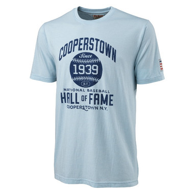 Men's American Needle Brass Tacks Baseball Hall of Fame Light Blue T-Shirt