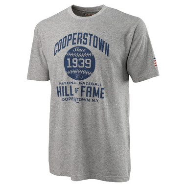 Men's American Needle Brass Tacks Baseball Hall of Fame Heather Gray T-Shirt
