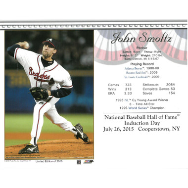 John Smoltz Atlanta Braves 2015 Hall of Fame Induction 8x10 Photocard