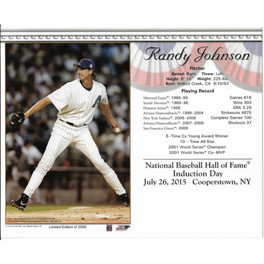 Randy Johnson 2015 Hall of Fame Induction 8x10 Photocard