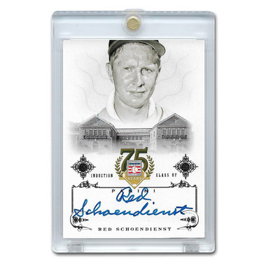 Red Schoendienst Autographed Card 2014 Panini Cooperstown HOF 75th Anniversary # 90