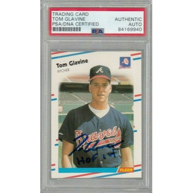 Tom Glavine Autographed Rookie Card 1988 Fleer # 539 (PSA)