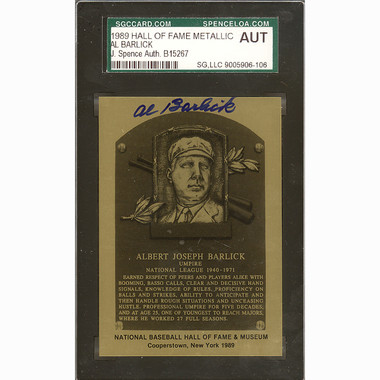 Al Barlick Autographed Metallic Hall of Fame Plaque Card (JSA)