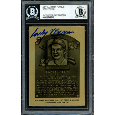 Early Wynn Autographed Metallic Hall of Fame Plaque Card (Beckett-10)