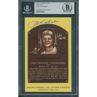 Carl Yastrzemski Autographed Hall of Fame Plaque Postcard (Beckett-50)