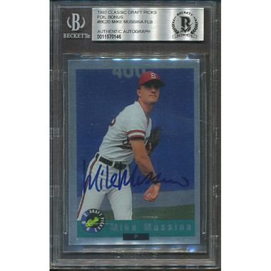 Mike Mussina Autographed Card 1992 Classic # BC20 (Beckett)