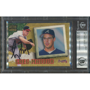 Greg Maddux Autographed Card 1998 Pacific Invincible # 80 (PSA)