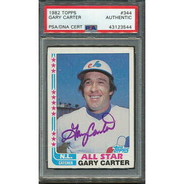 Gary Carter Autographed Card 1982 Topps # 344 (PSA)