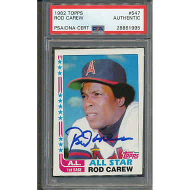 Rod Carew Autographed Card 1982 Topps # 547 (PSA)