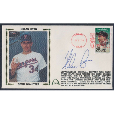 Nolan Ryan Autographed First Day Cover - 1990 6th No Hitter (PSA)