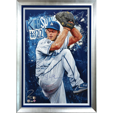 Clayton Kershaw 'Hitless In Hollywood' Autographed Limited Edition of 22 Framed 24 x 36 Canvas Giclee (Justyn Farano)